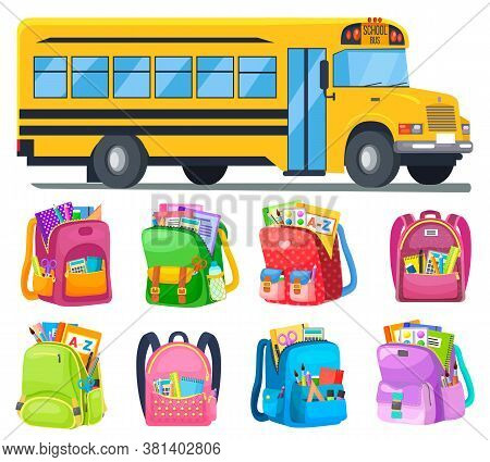 Schoolbags With Stationery And Books, And School Bus Vector. Transport And Backpacks Or Rucksacks, C