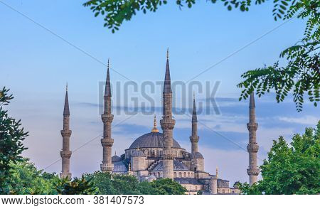 Sultanahmet Mosque From The Direction Of Sultanahmet Square In The Evening