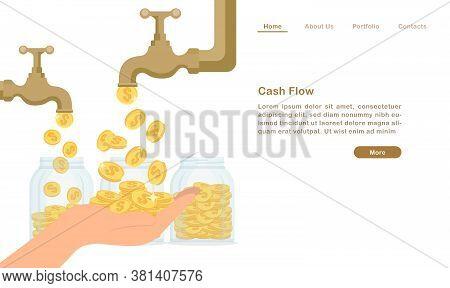 Website Landing Page Template Cartoon Golden Water Tap Faucet Dropping Money Coin Cash Flow Concept