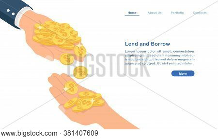 Website Landing Page Template Cartoon Lend And Borrow Money Concept Golden Coins And People Hands
