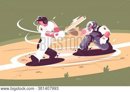 Batter Strikes The Ball In Baseball. Concept