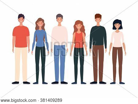 Women And Men Avatars Cartoons Design, Person People And Human Theme Vector Illustration