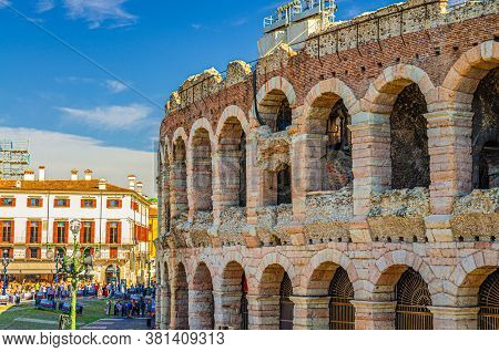 Verona, Italy, September 12, 2019: The Verona Arena Limestone Walls With Arch Windows In Piazza Bra