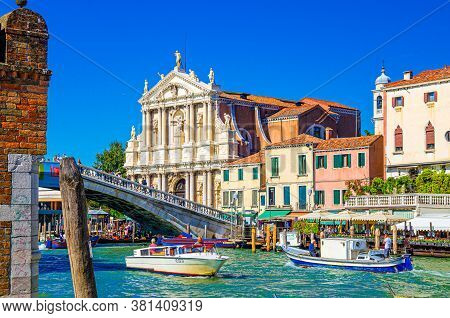 Venice, Italy, September 13, 2019: Yachts Sailing Grand Canal Waterway, Ponte Degli Scalzi Bridge An