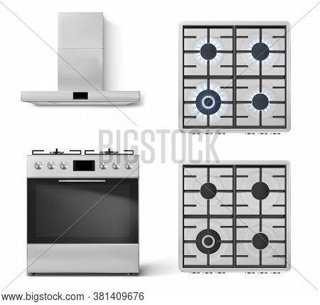 Gas Stove With Oven And Cooker Hood In Front View Isolated On White Background. Vector Realistic Set