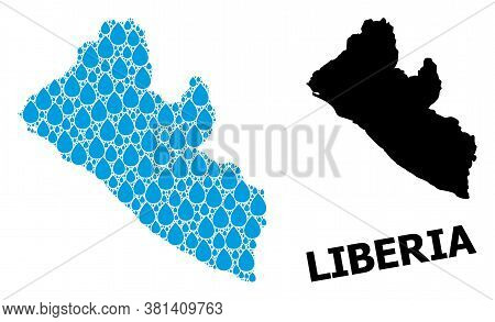 Vector Mosaic And Solid Map Of Liberia. Map Of Liberia Vector Mosaic For Pure Water Ads. Map Of Libe