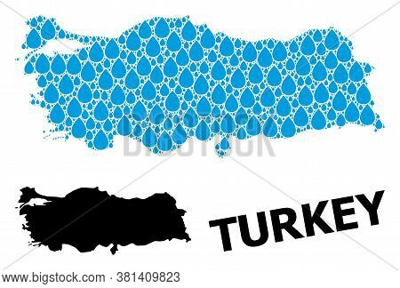 Vector Mosaic And Solid Map Of Turkey. Map Of Turkey Vector Mosaic For Clean Water Ads. Map Of Turke