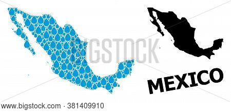 Vector Mosaic And Solid Map Of Mexico. Map Of Mexico Vector Mosaic For Clean Water Ads. Map Of Mexic