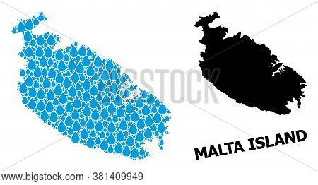 Vector Mosaic And Solid Map Of Malta Island. Map Of Malta Island Vector Mosaic For Pure Water Ads. M