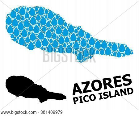 Vector Mosaic And Solid Map Of Pico Island. Map Of Pico Island Vector Mosaic For Pure Water Ads. Map