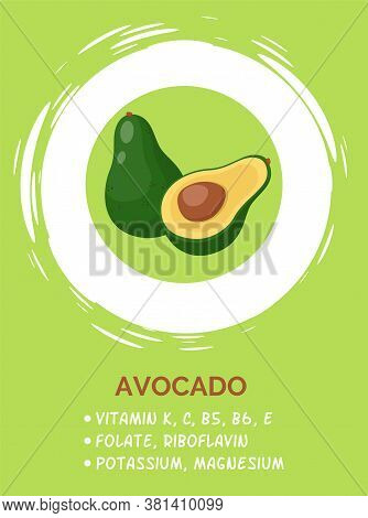 Image Of Ripe Half Opened Avocado With Seed Inside, Surrounded By White Circle. Avocado Cut Isolated