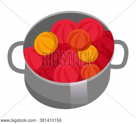Metal Pan With Red, Yellow Fruits Or Vegetables. Harvested, Ripe Fruit Or Vegetable. Gardening And A