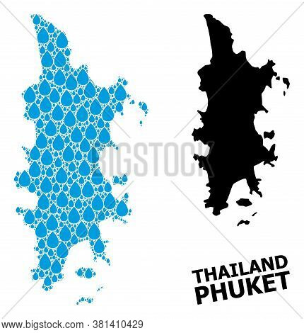 Vector Mosaic And Solid Map Of Phuket. Map Of Phuket Vector Mosaic For Pure Water Ads. Map Of Phuket