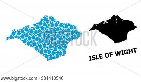 Vector Mosaic And Solid Map Of Isle Of Wight. Map Of Isle Of Wight Vector Mosaic For Clean Water Ads