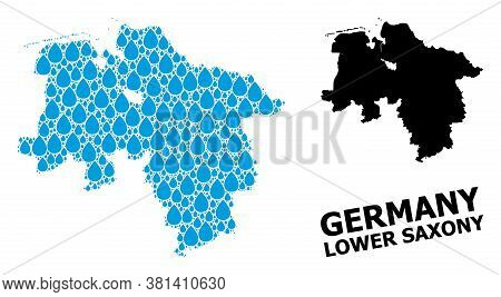 Vector Mosaic And Solid Map Of Lower Saxony State. Map Of Lower Saxony State Vector Mosaic For Clean