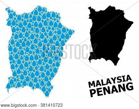 Vector Mosaic And Solid Map Of Penang Island. Map Of Penang Island Vector Mosaic For Drinking Water