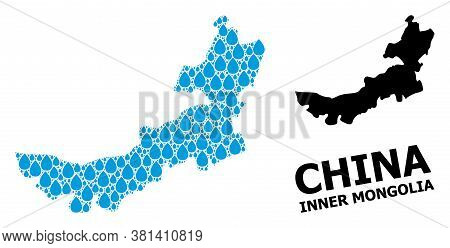 Vector Mosaic And Solid Map Of Inner Mongolia. Map Of Inner Mongolia Vector Mosaic For Pure Water Ad