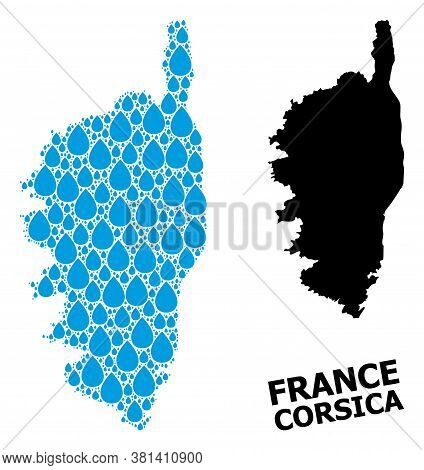 Vector Mosaic And Solid Map Of Corsica. Map Of Corsica Vector Mosaic For Pure Water Ads. Map Of Cors