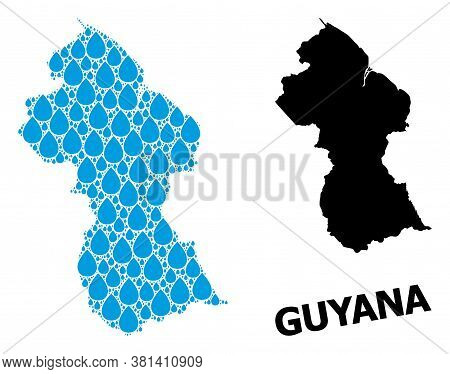 Vector Mosaic And Solid Map Of Guyana. Map Of Guyana Vector Mosaic For Drinking Water Ads. Map Of Gu