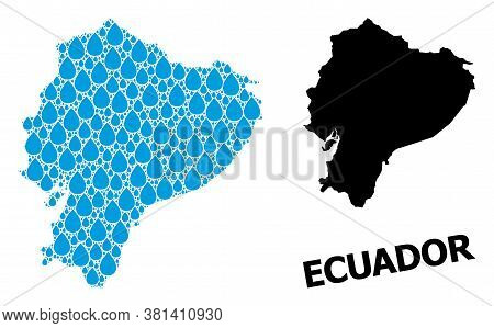 Vector Mosaic And Solid Map Of Ecuador. Map Of Ecuador Vector Mosaic For Drinking Water Ads. Map Of