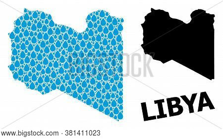 Vector Mosaic And Solid Map Of Libya. Map Of Libya Vector Mosaic For Drinking Water Ads. Map Of Liby