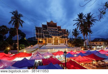 Wat Xieng Thong Temple And Night Market In Luang Prabang, Laos