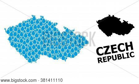 Vector Mosaic And Solid Map Of Czech Republic. Map Of Czech Republic Vector Mosaic For Clean Water A