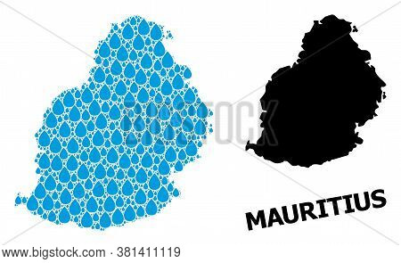 Vector Mosaic And Solid Map Of Mauritius Island. Map Of Mauritius Island Vector Mosaic For Pure Wate