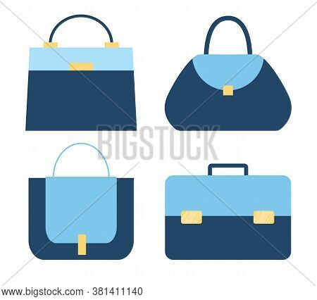 Isolated Collection Of Blue Fashionable Stylish Woman Bags. Set Of Handbag, Diplomat, Purses, Reticu