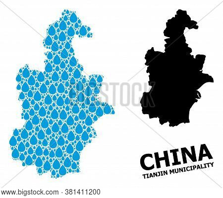 Vector Mosaic And Solid Map Of Tianjin Municipality. Map Of Tianjin Municipality Vector Mosaic For D