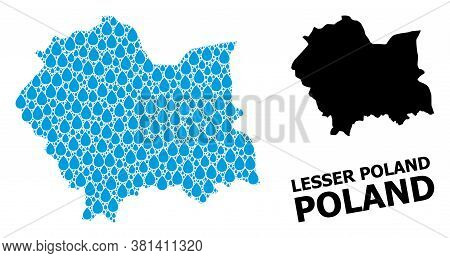 Vector Mosaic And Solid Map Of Lesser Poland Province. Map Of Lesser Poland Province Vector Mosaic F