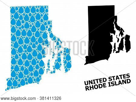 Vector Mosaic And Solid Map Of Rhode Island State. Map Of Rhode Island State Vector Mosaic For Drink