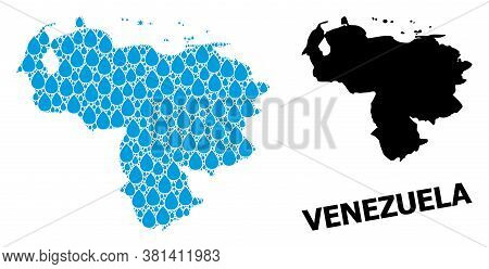 Vector Mosaic And Solid Map Of Venezuela. Map Of Venezuela Vector Mosaic For Drinking Water Ads. Map