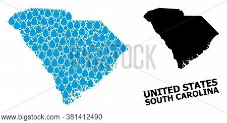 Vector Mosaic And Solid Map Of South Carolina State. Map Of South Carolina State Vector Mosaic For D