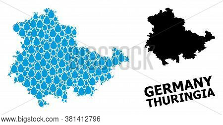 Vector Mosaic And Solid Map Of Thuringia State. Map Of Thuringia State Vector Mosaic For Drinking Wa