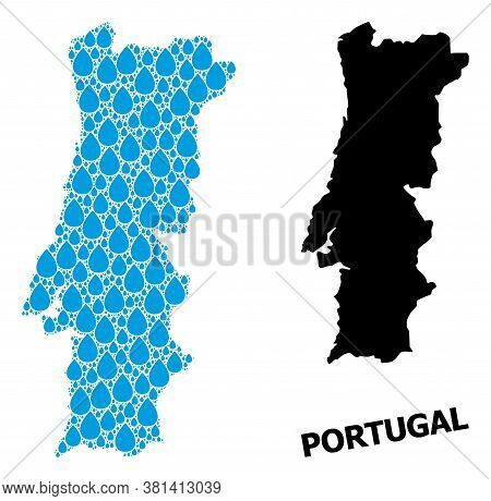 Vector Mosaic And Solid Map Of Portugal. Map Of Portugal Vector Mosaic For Clean Water Ads. Map Of P