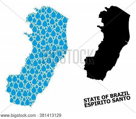 Vector Mosaic And Solid Map Of Espirito Santo State. Map Of Espirito Santo State Vector Mosaic For D