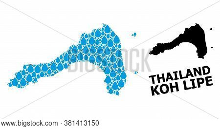 Vector Mosaic And Solid Map Of Koh Lipe. Map Of Koh Lipe Vector Mosaic For Pure Water Ads. Map Of Ko