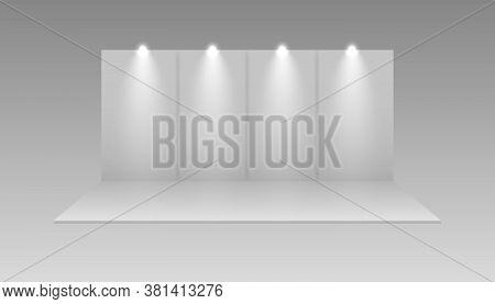 Exhibition White Empty Vector Booth.  Presentation Event Room Display. Vector Mockup. 3d Exhibition