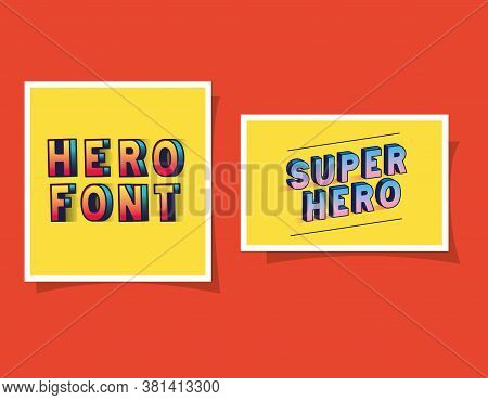 3d Super Hero And Hero Font Lettering On Yellow Backgrounds Design, Typography Retro And Comic Theme