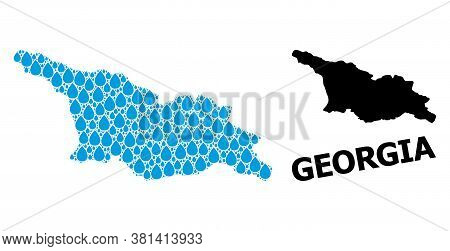 Vector Mosaic And Solid Map Of Georgia. Map Of Georgia Vector Mosaic For Drinking Water Ads. Map Of
