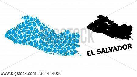 Vector Mosaic And Solid Map Of El Salvador. Map Of El Salvador Vector Mosaic For Drinking Water Ads.