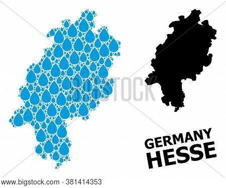 Vector Mosaic And Solid Map Of Hesse State. Map Of Hesse State Vector Mosaic For Pure Water Ads. Map
