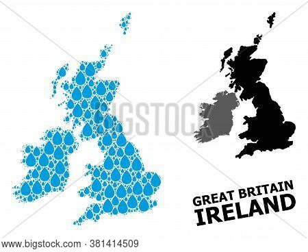 Vector Mosaic And Solid Map Of Great Britain And Ireland. Map Of Great Britain And Ireland Vector Mo