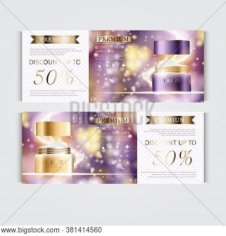 Gift Voucher Hydrating Facial Cream For Annual Sale Or Festival Sale. Silver And Gold Cream Mask Bot