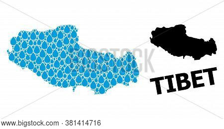 Vector Mosaic And Solid Map Of Tibet. Map Of Tibet Vector Mosaic For Pure Water Ads. Map Of Tibet Is