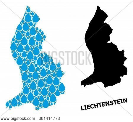 Vector Mosaic And Solid Map Of Liechtenstein. Map Of Liechtenstein Vector Mosaic For Drinking Water