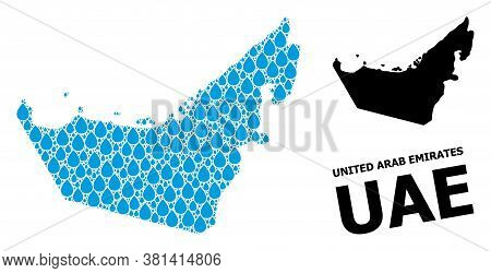 Vector Mosaic And Solid Map Of United Arab Emirates. Map Of United Arab Emirates Vector Mosaic For C