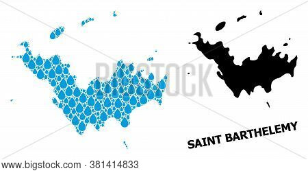 Vector Mosaic And Solid Map Of Saint Barthelemy. Map Of Saint Barthelemy Vector Mosaic For Drinking