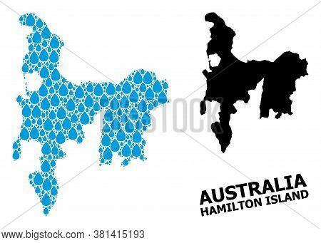 Vector Mosaic And Solid Map Of Hamilton Island. Map Of Hamilton Island Vector Mosaic For Pure Water